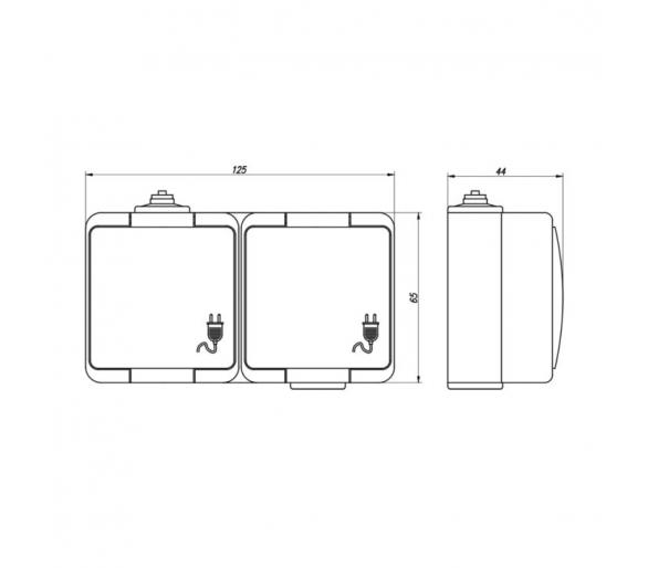 Gniazdo wtyczkowe podwójne 2x 2P+Z Schuko bryzgoodporne z klapką dymną IP44 NT-7S/L szare