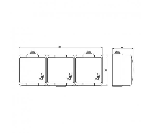 Gniazdo wtyczkowe potrójne 3x 2P+Z bryzgoodporne z klapką dymną IP44 NT-316S/L szare