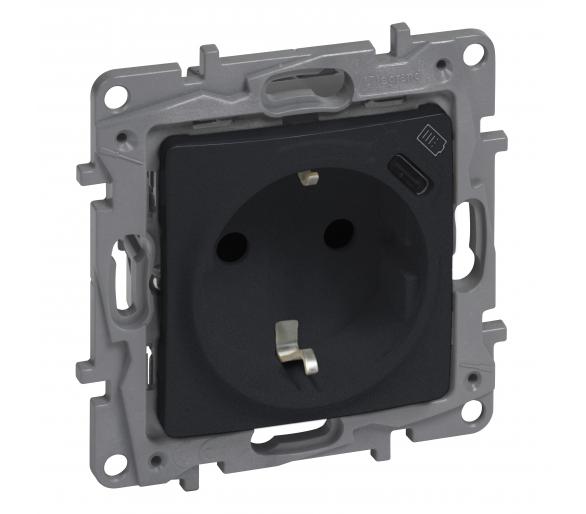 Gniazdo 2P+Z płaskie 16 A - 250 V + USB typ C (z przesłoną, zaciski automatyczne) - Antracyt - Niloe Selection 762296