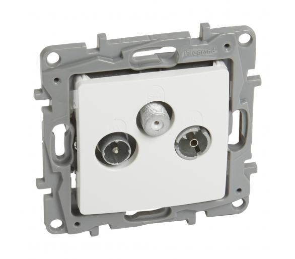 Gniazdo TV-RD-SAT końcowe do instalacji typu gwiazda 1,5 dB - Biały - Niloe/Niloe Selection 764563