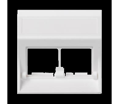 Plakietka teleinformatyczna SIMON 500 do adapterów MD podwójna bez osłon skośna 50×50mm czysta biel 50000186-030
