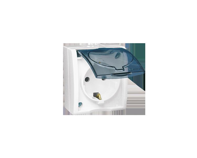 Gniazdo wtyczkowe pojedyncze z uziemieniem typu Schuko z przesłonami torów prądowych- w wersji IP54 -  klapka w kolorze transpar