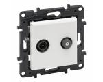 Gniazdo TV-SAT 2-przewodowe końcowe do instalacji typu gwiazda 1,5 dB - Białe -  Niloe Step 863183