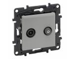 Gniazdo TV-SAT 2-przewodowe końcowe do instalacji typu gwiazda 1,5 dB - Aluminium -  Niloe Step 863383