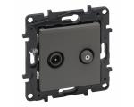 Gniazdo TV-SAT 2-przewodowe końcowe do instalacji typu gwiazda 1,5 dB - Stalowe -  Niloe Step 863483