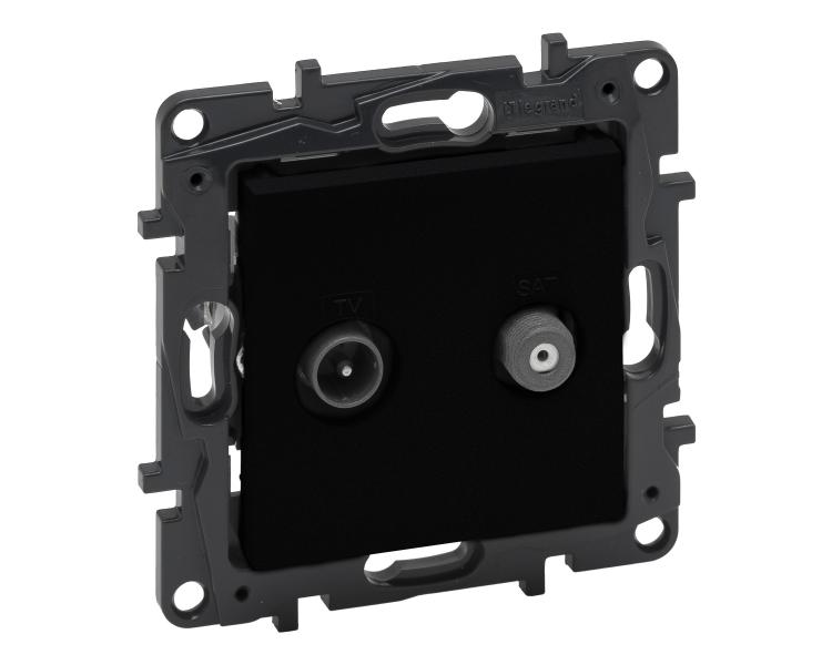 Gniazdo TV-SAT 2-przewodowe końcowe do instalacji typu gwiazda 1,5 dB - Czarne -  Niloe Step 863583