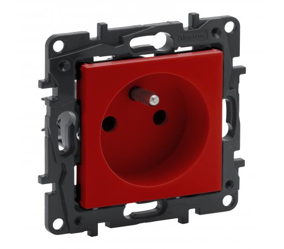 Gniazdo 2P+Z 16 A - 230 V~ - z przesłoną, zaciski automatyczne - Czerwone -  Niloe Step 863030