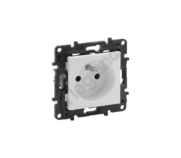 Gniazdo 2P+Z 16 A - 230 V~ - bez przesłony, zaciski automatyczne - Białe -  Niloe Step 863131