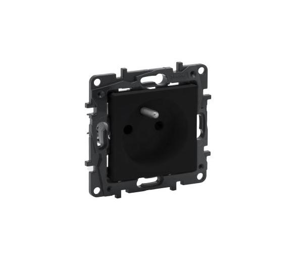 Gniazdo 2P+Z 16 A - 230 V~ - bez przesłony, zaciski automatyczne - Czarne -  Niloe Step 863531
