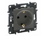Gniazdo Schuko 2P+Z 16 A - 230 V~ - z przesłoną, zaciski automatyczne - Stalowe -  Niloe Step 863420