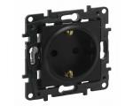 Gniazdo Schuko 2P+Z 16 A - 230 V~ - z przesłoną, zaciski automatyczne - Czarne -  Niloe Step 863520