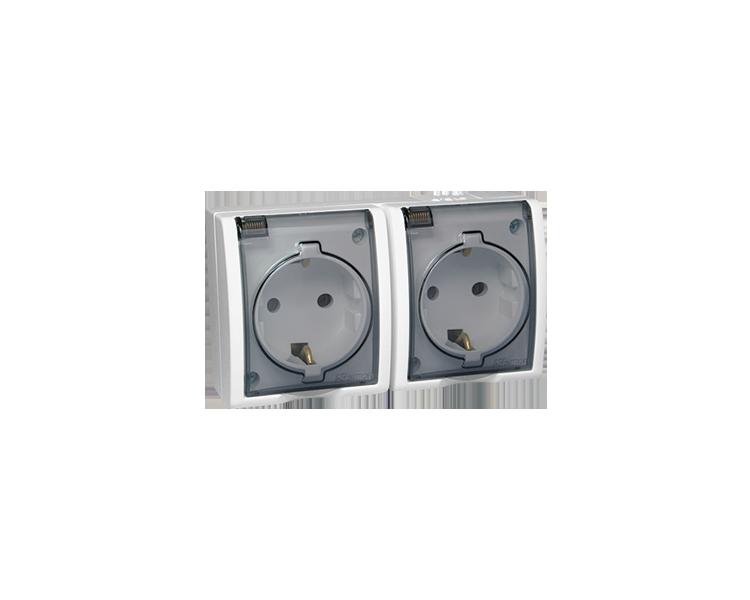 Gniazdo wtyczkowe podwójne z uziemieniem typu Schuko - w wersji IP54 - klapka w kolorze transparentnym biały 16A AQGSZ1-2/11A