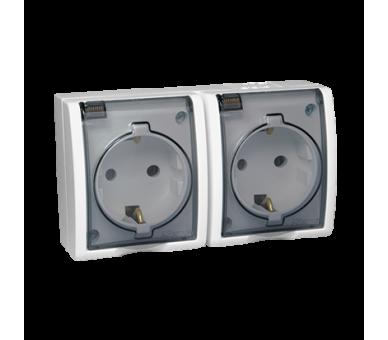 Gniazdo wtyczkowe podwójne z uziemieniem typu Schuko z przesłonami torów prądowych - w wersji IP54 - klapka w kolorze transparen