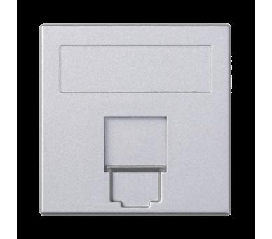 Plakietka teleinformatyczna SIMON 500 keystone pojedyncza płaska uniwersalna z osłoną 50×50mm aluminium 50000085-033