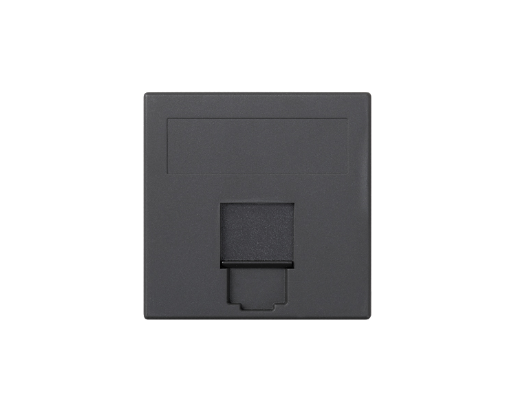 Plakietka teleinformatyczna SIMON 500 keystone pojedyncza płaska uniwersalna z osłoną 50×50mm szary grafit 50000085-038