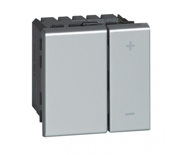 Ściemniacz uniwersalny przyciskowy 3 - 400 W, 2 przewodowy - Aluminium MOSAIC 079207