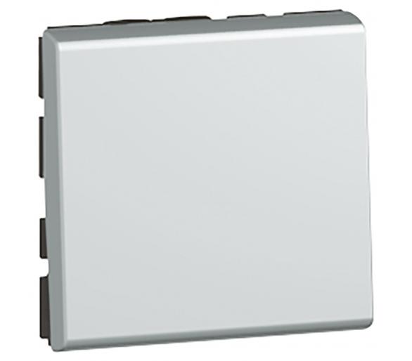 Przycisk jednobiegunowy 6 A - 250 V~ - 2 modułowy - Aluminium MOSAIC 079240