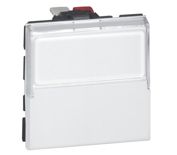 Przycisk przełączny 6 A - 250 V~ z uchwytem etykiety - 2 modułowy - Biały antybakteryjny MOSAIC 077043