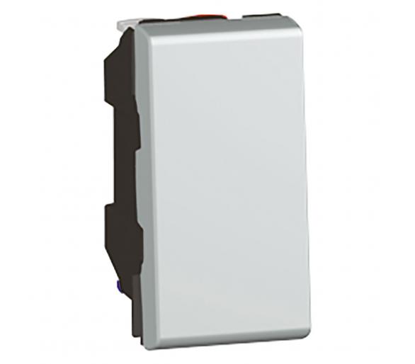 Przycisk jednobiegunowy 6 A - 250 V~ - 1 modułowy - Aluminium MOSAIC 079230