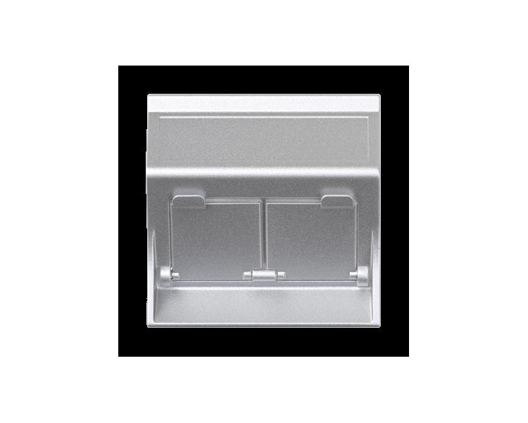 Plakietka teleinformatyczna SIMON 500 do adapterów MD podwójna skośna z osłonami 50×50mm aluminium 50000086-033