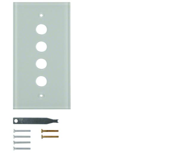 Berker TS Szklana płytka dekoracyjna 4-kr, śnieżnobiały błyszczący Berker 1394
