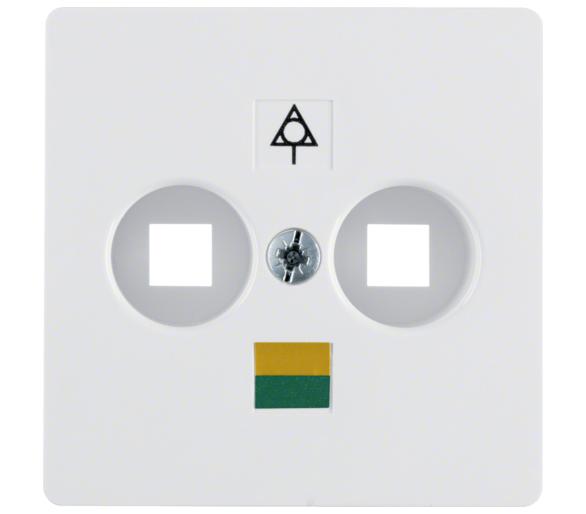 B.Kwadrat/K.1/K.5 Płytka czołowa do gniazda wyrów. potencjału 2-kr biały, połysk Berker 140309