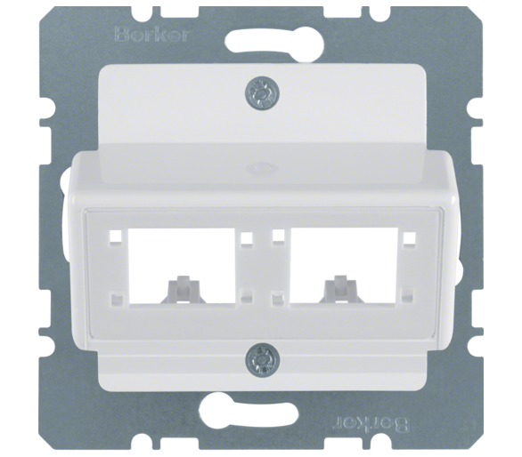 B.Kwadrat Płytka czołowa do 1 lub 2 modułów 1-kr Reichle&De-Massari, biały Berker 147209