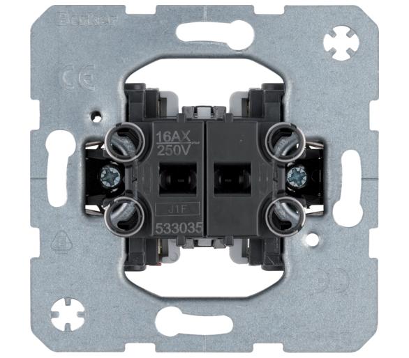 one.platform Łącznik 2-klawiszowy seryjny (świecznikowy), mechanizm, samozaciski Berker 533035