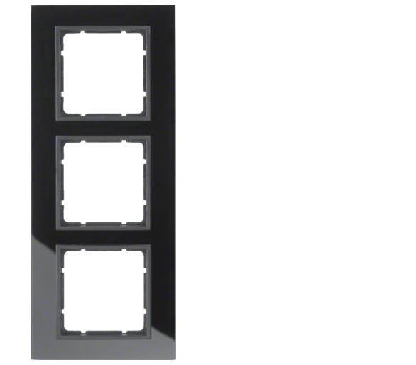B.7 Ramka 3-krotna, szkło czarne/antracyt mat Berker 10136616