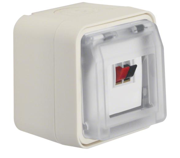 W.1 Gniazdo głośnikowe pojedyncze z pokrywą, kompletne, IP55, biały Berker 11963502