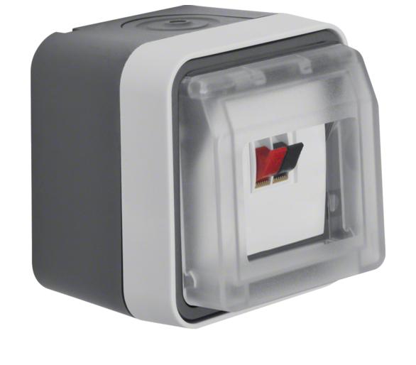 W.1 Gniazdo głośnikowe pojedyncze z pokrywą, kompletne, IP55, szary Berker 11963505