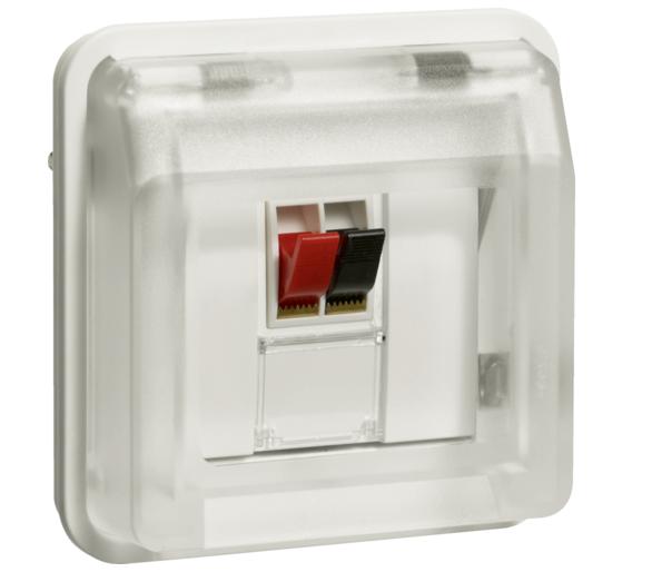 W.1 Moduł gniazdo głośnikowe pojedyncze z pokrywą, IP55, biały Berker 11963522