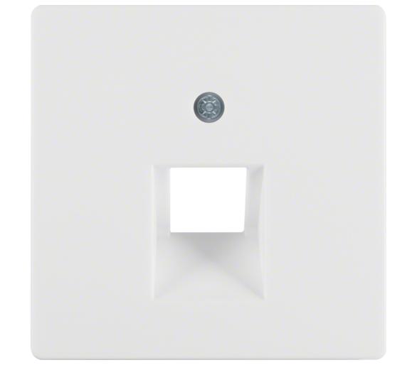 Q.x Płytka czołowa do gniazda przyłącz. UAE 1-kr komp./tel. biały, aks Berker 14076089
