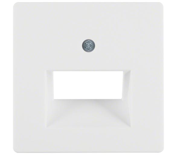 Q.x Płytka czołowa do gniazda przyłącz. UAE 2-kr komp./tel. biały, aks Berker 14096089