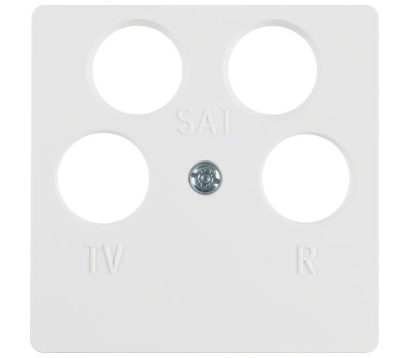 Q.x/S.1/B.3/B.7 Płytka czołowa do gniazda antenowego 4-wyj., biały Berker 14841909