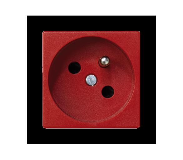 Gniazdo wtyczkowe pojedyncze K45 z bolcem uziemiającym 16A 250V zaciski śrubowe 45×45mm czerwony K02/6