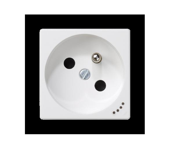 Gniazdo wtyczkowe pojedyncze K45 z bolcem uziemiającym z sygnalizacją napięcia 16A 250V zaciski śrubowe 45×45mm czysta biel KL02