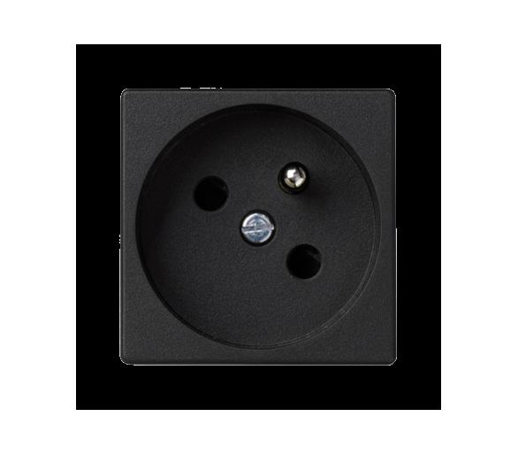 Gniazdo wtyczkowe pojedyncze K45 z bolcem uziemiającym 16A 250V szybkozłącza 45×45mm szary grafit K22/14