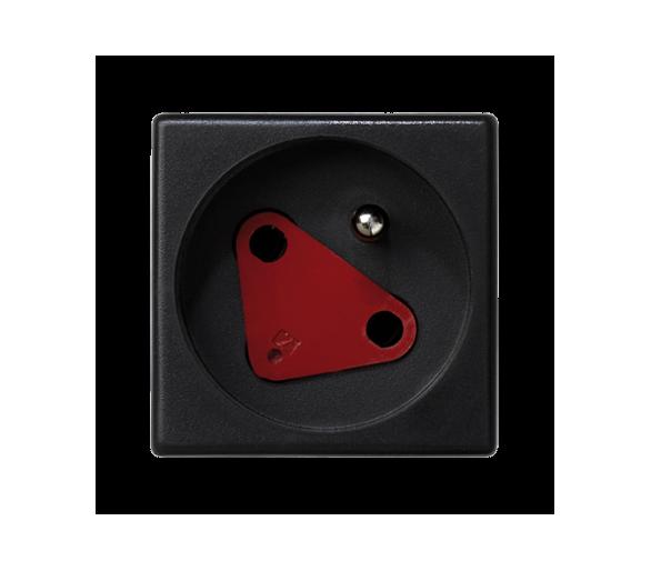 Gniazdo wtyczkowe pojedyncze K45 DATA z bolcem uziemiającym 16A 250V szybkozłącza 45×45mm szary grafit KS22/14