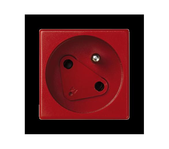 Gniazdo wtyczkowe pojedyncze K45 DATA z bolcem uziemiającym 16A 250V szybkozłącza 45×45mm czerwony KS22/6