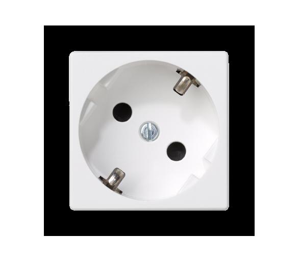 Gniazdo wtyczkowe pojedyncze K45 SCHUKO 16A 250V zaciski śrubowe 45×45mm czysta biel K01/9