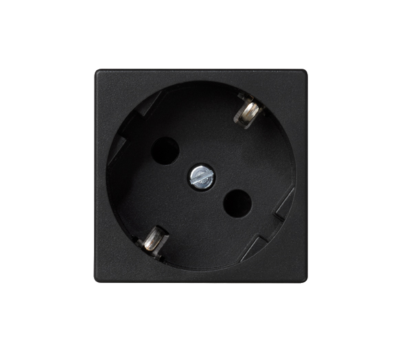 Gniazdo wtyczkowe pojedyncze K45 SCHUKO 16A 250V szybkozłącza 45×45mm szary grafit K11/14