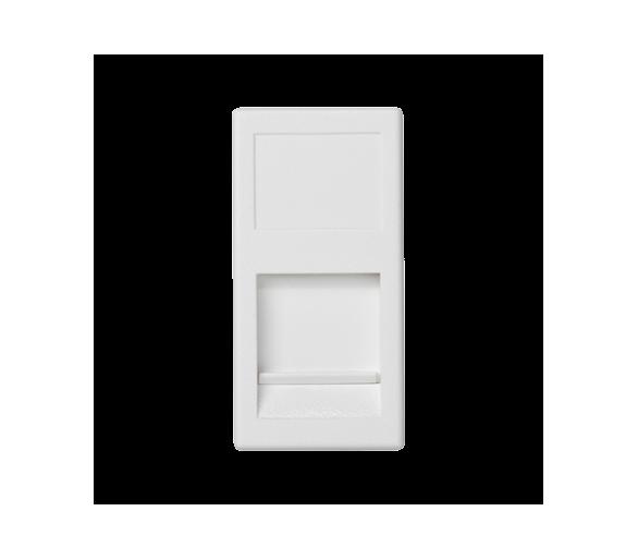 Plakietka teleinformatyczna K45 keystone pojedyncza płaska uniwersalna z osłoną 45×22,5mm czysta biel KA76/9