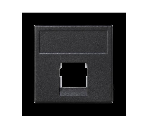Plakietka teleinformatyczna K45 keystone pojedyncza bez osłon płaska uniwersalna 45×45mm szary grafit K076/14