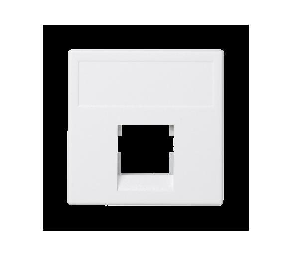 Plakietka teleinformatyczna K45 keystone pojedyncza bez osłon płaska uniwersalna 45×45mm czysta biel K076/9