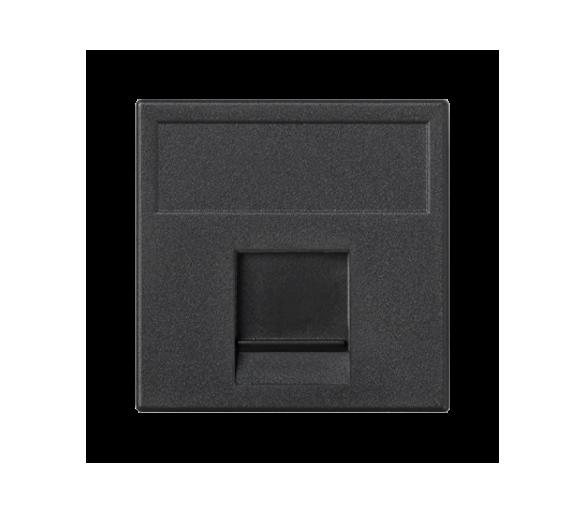 Plakietka teleinformatyczna K45 keystone pojedyncza płaska uniwersalna z osłoną 45×45mm szary grafit K76/14