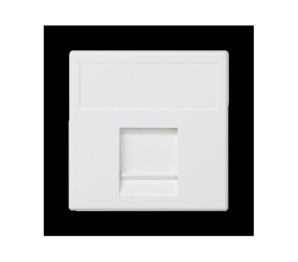 Plakietka teleinformatyczna K45 keystone pojedyncza płaska uniwersalna z osłoną 45×45mm czysta biel K76/9