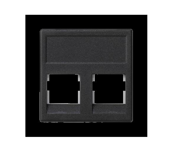 Plakietka teleinformatyczna K45 keystone podwójna bez osłon płaska uniwersalna 45×45mm szary grafit KB076/14
