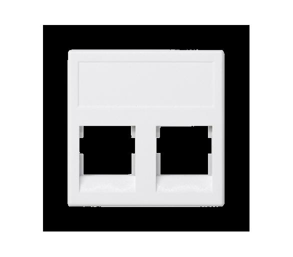 Plakietka teleinformatyczna K45 keystone podwójna bez osłon płaska uniwersalna 45×45mm czysta biel KB076/9