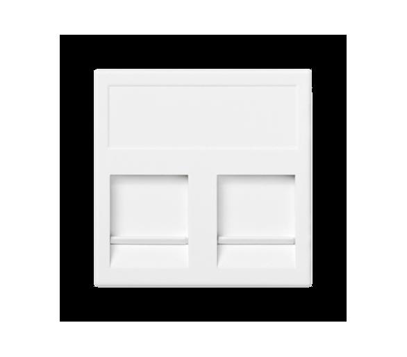 Plakietka teleinformatyczna K45 keystone podwójna płaska uniwersalna z osłonami 45×45mm czysta biel KB76/9